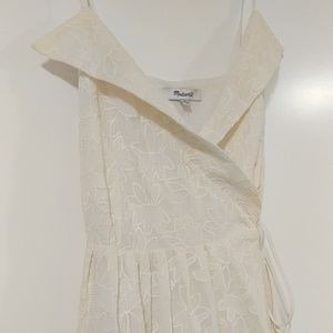 White / cream embroidered Madewell wrap dress
